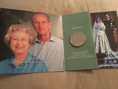 2007 Diamond Wedding Crown £5 Queen& Prince Philip in Royal Mint pack