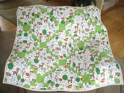 New Baby Unisex Forest Animals Flannel Quilt Irish Chain Boy or Girl Shower Gift