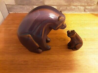 Blue And Brown Glazed Pottery Bear And Cub