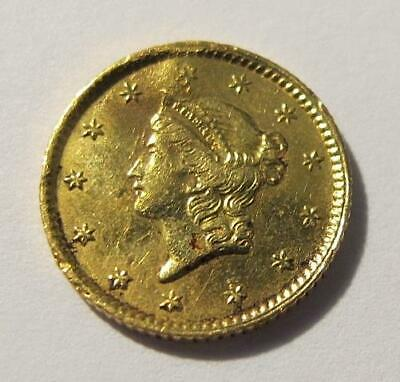 1853 U.S. One Dollar * Liberty Head * Gold Coin * Type 1  * Circulated * Damaged