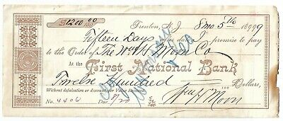 Promissory Note, First National Bank Trenton NJ. with Documentary Stamps, 1899
