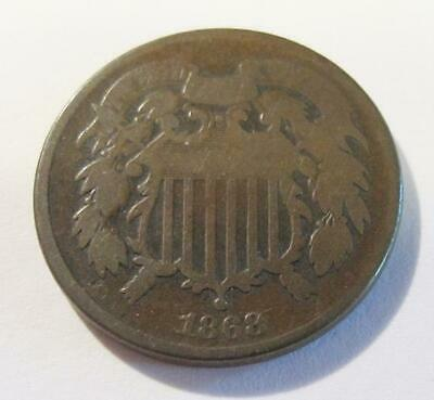 1868 U.S. Two Cent Piece * Circulated * They Are Not Making Anymore Of These