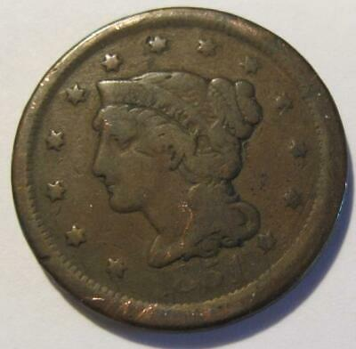 1851 U.S Large One Cent * Braided Hair * Circulated * No Reserve