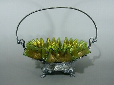 Antique Goofus Glass Northwood Netted Roses Silverplate Bride's Basket