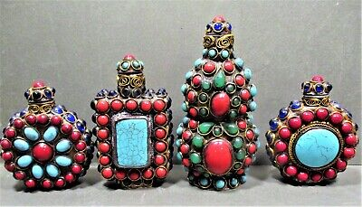 Group Of 4 Substantial Tibet Snuff Bottles, Covered In Cabochons, Turquoise, Red