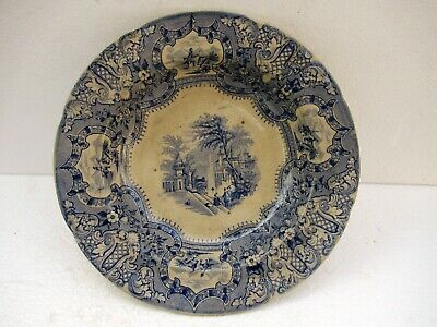 """Antique Plate Brigand Transfer Ware Blue White Platter Scenery Stamped Mark """"F"""