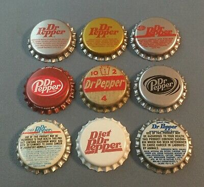 9 vintage Dr Pepper soda bottle caps 9 different unused 8 plastic 1 cork lined