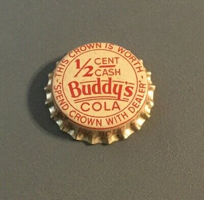 Vintage Buddy's Cola cork lined soda bottle cap unused Augusta, Georgia