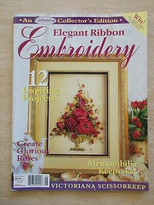 Elegant Ribbon Embroidery~12 Patterns~98pp P/B~2003~Bear~Baby~Bookmarks~Flowers