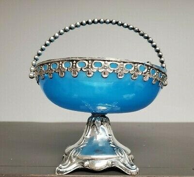 Lovely Antique French Bohemian Opaline Blue & Silver Brides Basket Bowl