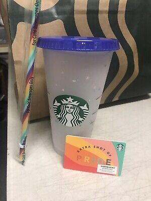 Starbucks Confetti Color Changing Tumbler 24 oz, PRIDE Starbucks Card (no value)