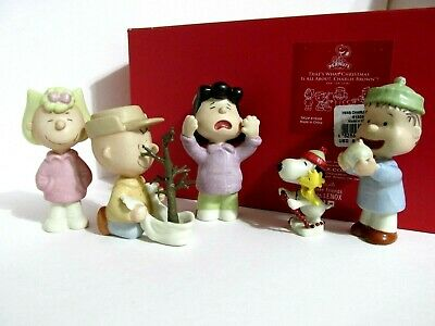 Snoopy Peanuts Charlie Brown Lenox Fine China Christmas Figurine Set 2011