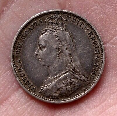 1887 Great Britain Queen Victoria Silver Six Pence Sixpence 6 P - Nice Coin