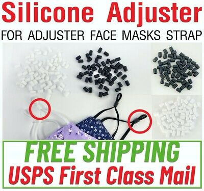 """24/48/100 PIECES - 1/4"""" or 1/8"""" Face Mask Cord Adjuster Silicone Stopper Elastic"""
