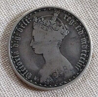 1853 Great Britain Gothic Florin Queen Victoria Silver Coin MDCCCLIII Nice Coin