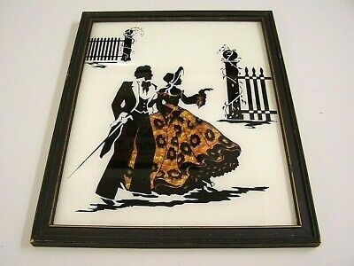 "Vtg REVERSE PAINTED SILHOUETTE Foil ""Butterfly Wings"" VICTORIAN ART Wall Picture"