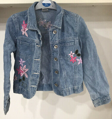 Next Denim Jacket With Pink Embroidered Flowers For Girl Age 7-8.