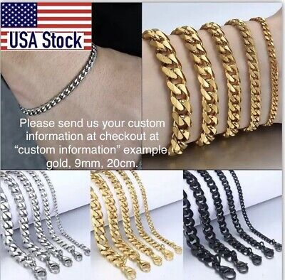 Bracelet For Men/Women Curb Cuban Chain Real Stainless Steel Gold Silver Black
