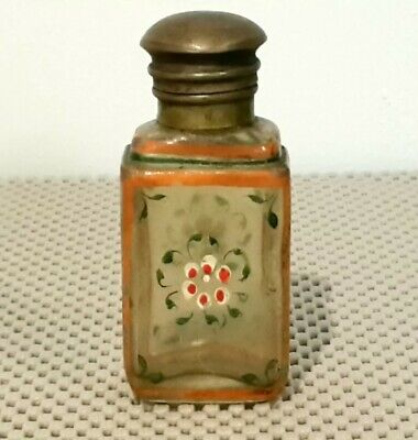 Antique Victorian Perfume Bottle With Hinged Brass Lid, Circa 1890,Hand Painted