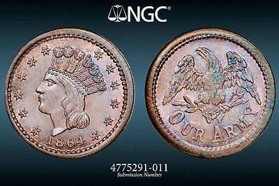 NGC MS-66 BN 1864 Princess/Our Army Civil War Token F-55/162a! Only 1 finer!