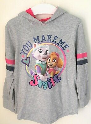 New Girls Paw Patrol Hoodie Lightweight - Marl Grey Exstore - Bagged - Ages 2-8Y