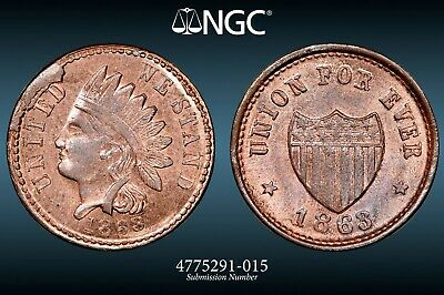 NGC MS-66 RB Untied We Stand/Union For Ever Civil War Token F-100/341a, TopPop!