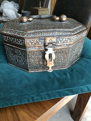 collectable rare Antique Handmade Copper Indian Spice Tin
