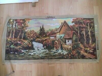 """New Water Mill Tapestry Canvas by Gobelin 100% cotton STARTED 43"""" x 20"""""""
