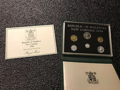1984 Maldives 6 Coin Proof Set Royal Mint Only 2,500 Issued Worldwide RARE!