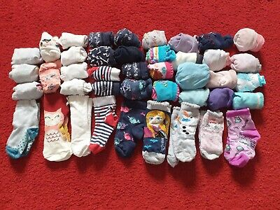Bundle of used Girls Socks toddler size 3-5.5. 42 pairs in total.