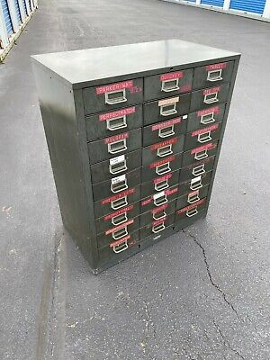 "Vinatge Cole 27 Drawer Unit  Metal Parts Cabinet 38"" ht"