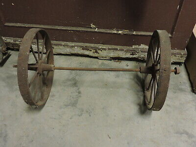 Antique Hit & Miss Engine? Cart Truck Wheels with Axel & Pillow Blocks, #2