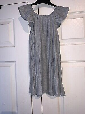 Baby Gap Girls Grey Shimmer Pleated Dress Frill Cap Sleeves 5 Years