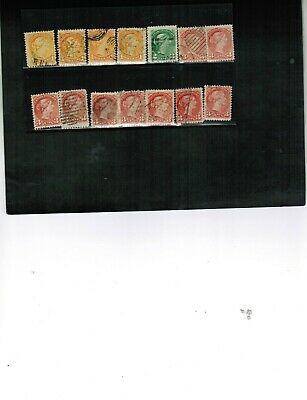 CANADA 1870+  Collection of 14 cancels & shades cat #35++ $16.+ USED LOT 811a
