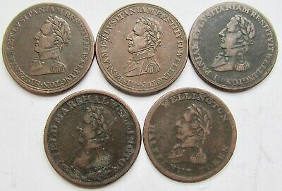 Canada Group of 5 Wellington Half Penny Tokens