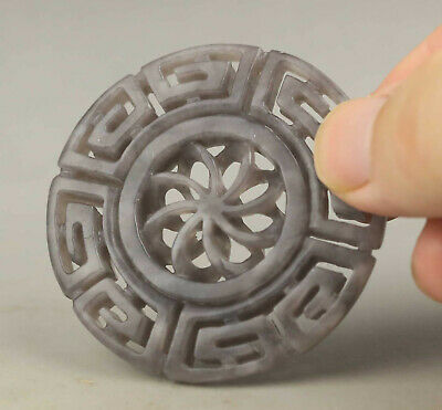 Old Chinese natural hetian jade hand-carved flower pendant