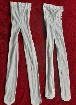 Girls 2 pairs of white thin tights H&M size age 6-8, new