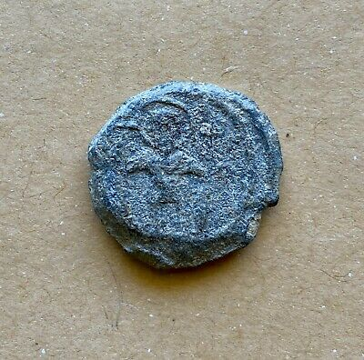 BYZANTINE LEAD SEAL OF THEODORE STRATELATES. NICE EARLY ICONOGRAPHIC TYPE(7th c)