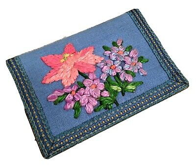 Antique Postcard Wallet with blank postcards - embroidered - kitsch - needlework