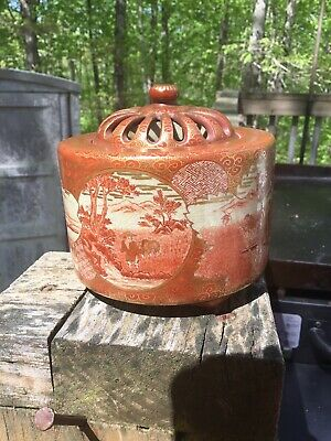 Early Fabulous Japanese Signed Kutani Incense Censor Burner No Reserve