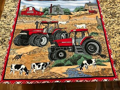 """Case IH Red Tractors Farm Tapestry Wall Hanging Vintage Cotton Quilting 35""""x 34"""""""