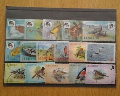 Bird stamps thematics, bird stamps on Lethotho stamps.