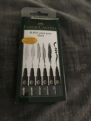 Faber-Castell - Pitt Artist Fine Liners- 6 Pen Set-Black India Ink