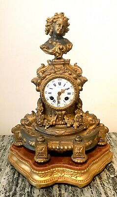 Antique French Japy Freres Gilded Metal Mantel Cloc C1855 On Gild Wood Stand