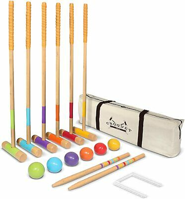 Croquet Set Outdoor - 6 Player Croquet Set with mallets, balls, wickets