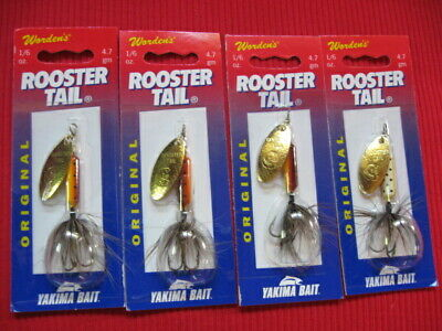 4 Wordens Yakima ORIGINAL ROOSTER TAIL Spinner 1/6 oz BROWN TROUT Fishing Lure