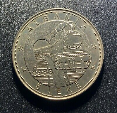 Albania 1988 5 Leke Coin:   42nd Anniversary of First Railroad Mintage 20k