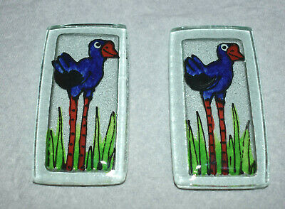 Hand Painted Glass Tiles Whimsical Blue Bird - 2
