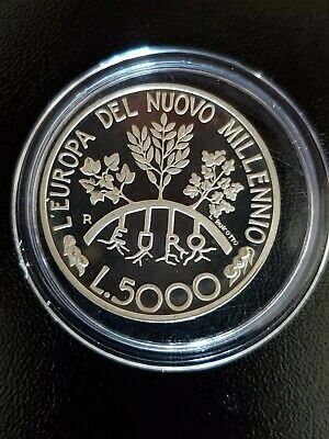 San Marino 5000 Lire 1998 Silver Coin Proof Europe in the New Millennium