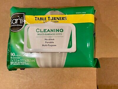 WOW! Prosaional Table Turners Multi Purpose Wipes Pre Moistened 90 Ct